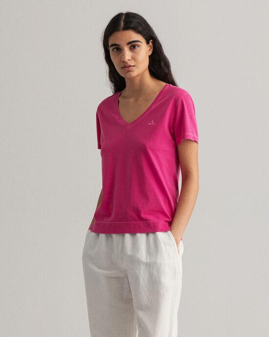 T-shirt Sunfaded con scollo a V