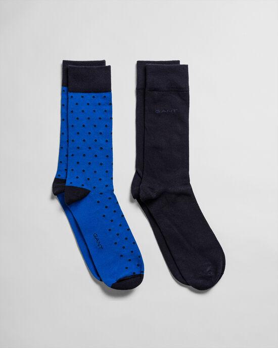 Confezione da 2 calzini tinta unita e pois