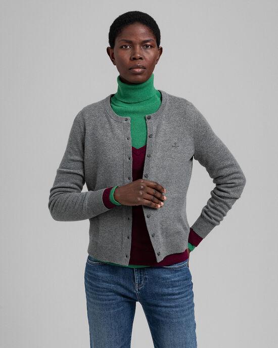 Cardigan girocollo in lana d'agnello extra fine