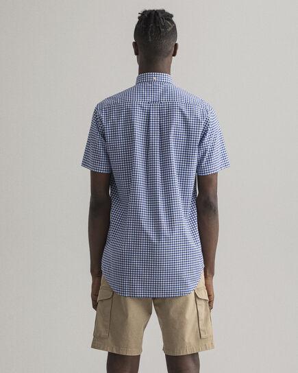 Camicia in broadcloth a quadri percalle con maniche corte regular fit