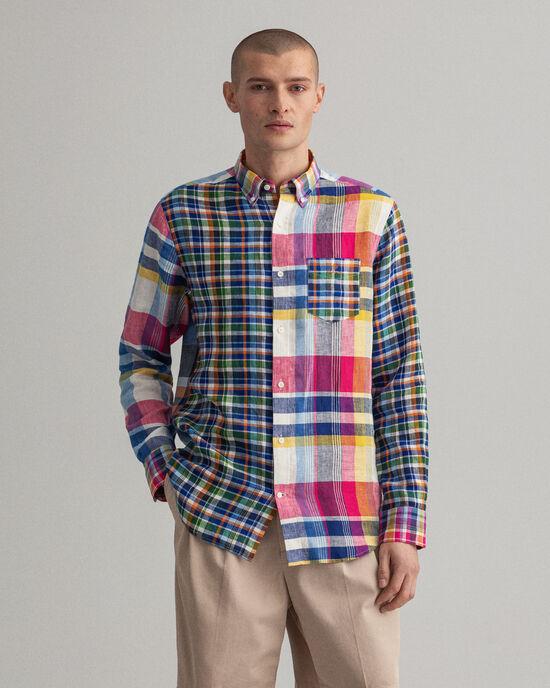Camicia di lino in madras a pannelli misti regular fit