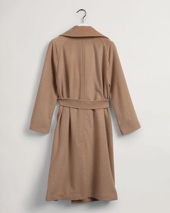 Cappotto con cintura in misto lana