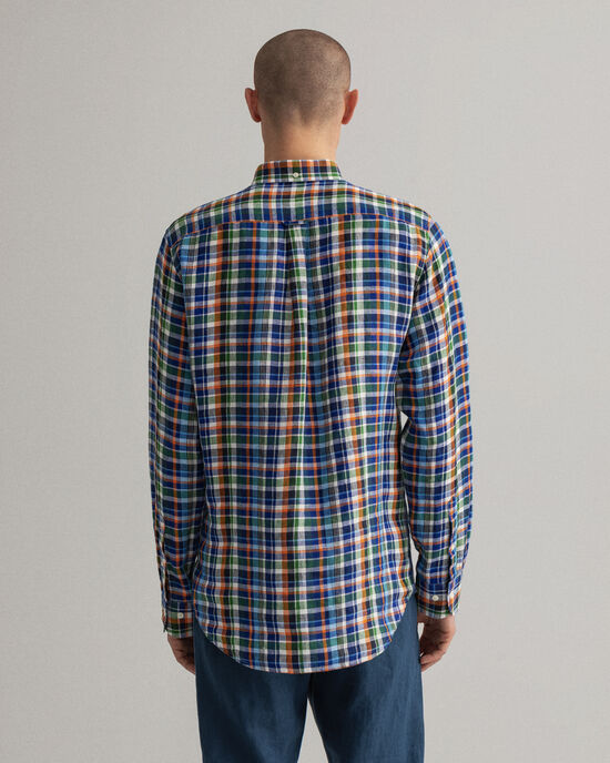Camicia di lino in madras regular fit