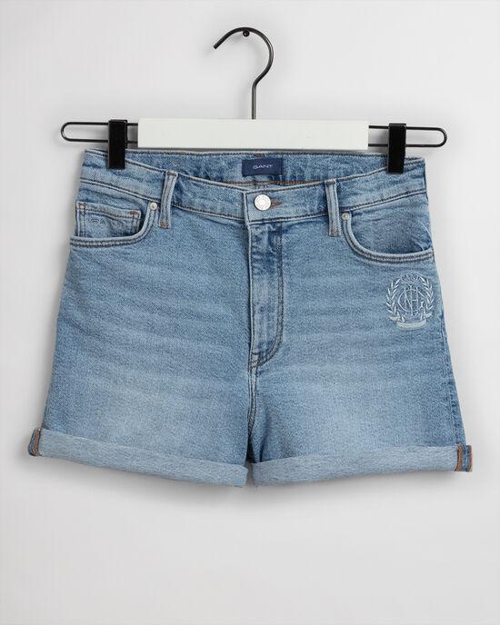 Pantaloncini di jeans Monogram a vita alta teen girls