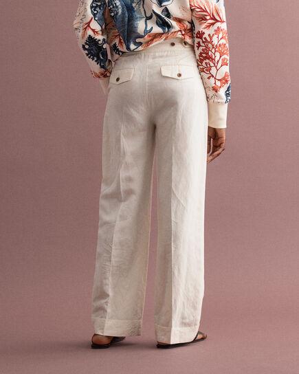 Pantaloni gamba ampia misto lino