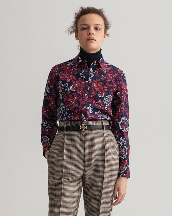 Camicia in broadcloth con motivo cachemire