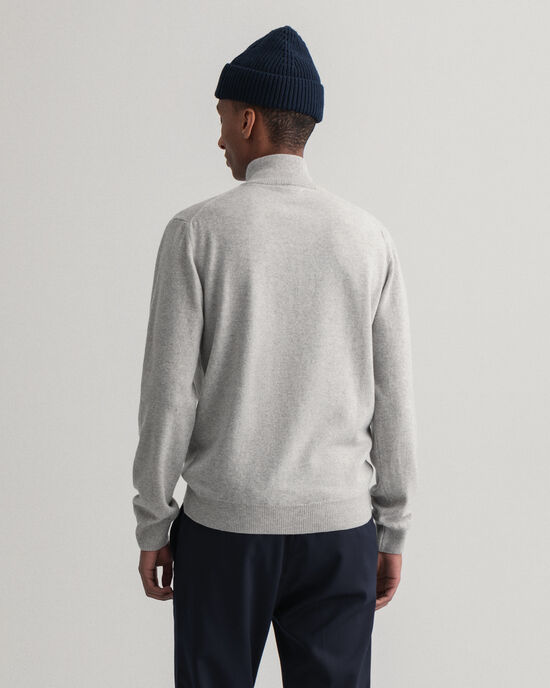 Maglia in lana d'agnello extrafine con zip corta
