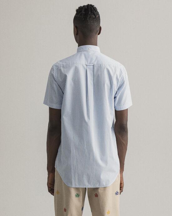 Camicia in broadcloth a maniche corte a righe regular fit