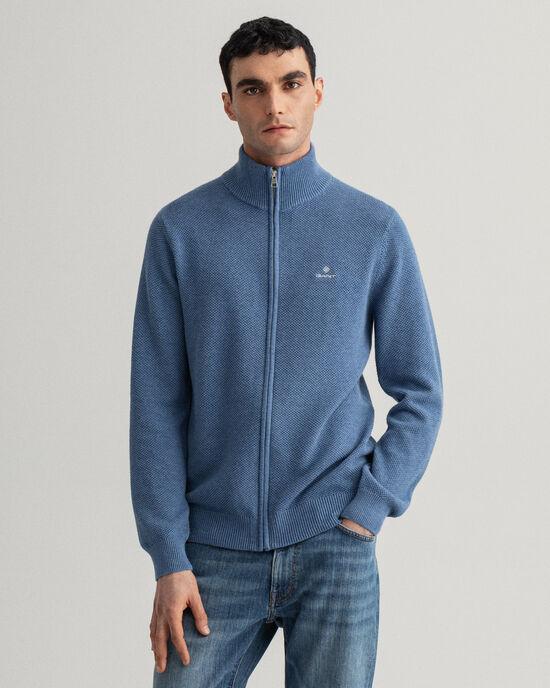 Cardigan con zip in piqué di cotone