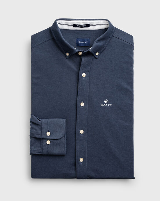 Camicia Tech Prep™ in piqué regular fit