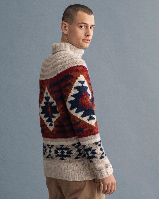 Maglia con collo a imbuto Geometric in lana d'alpaca