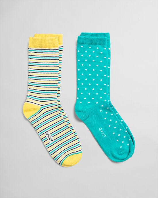 Confezione da 2 calzini a pois e a righe