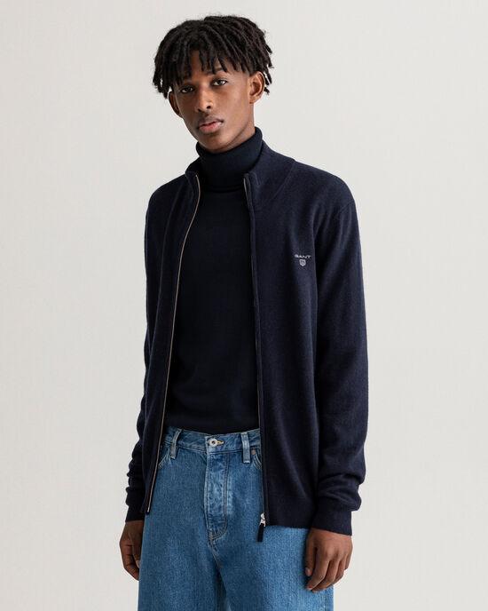Cardigan con zip in lana d'agnello extra fine
