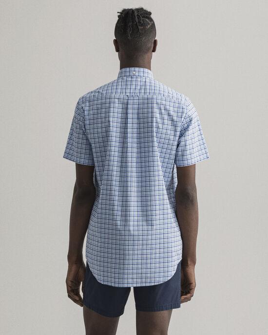 Camicia a maniche corte in broadcloth a quadri percalle 3 colori regular fit