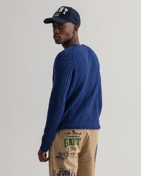 Maglia girocollo in lana d'agnello a trecce