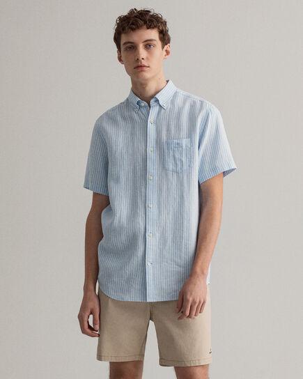 Camicia a maniche corte in lino a righe regular fit