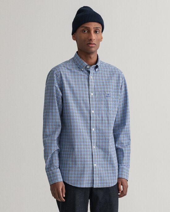 Camicia in broadcloth a quadri percalle 3 colori regular fit