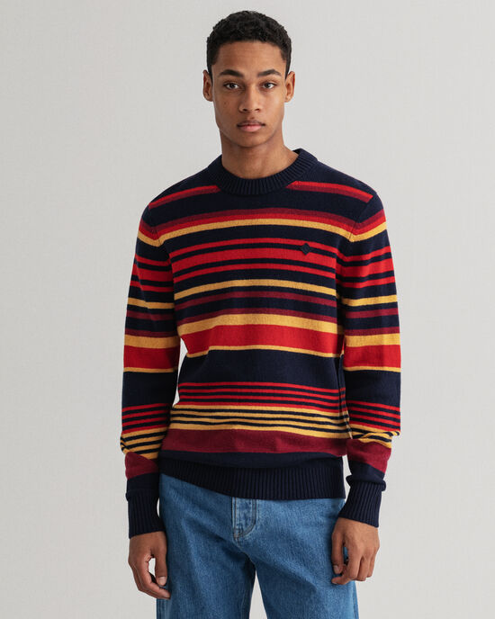 Maglia girocollo a righe in lana Geelong