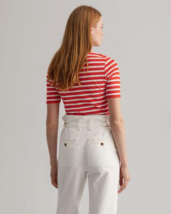 T-shirt a coste con maniche corte-lunghe