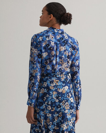 Camicia in misto seta e cotone con stampa Liberation Bouquet