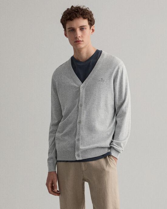 Cardigan in cotone-seta con scollo a V