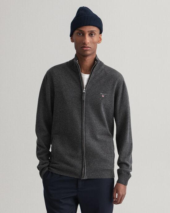 Cardigan con zip in lana d'agnello extrafine