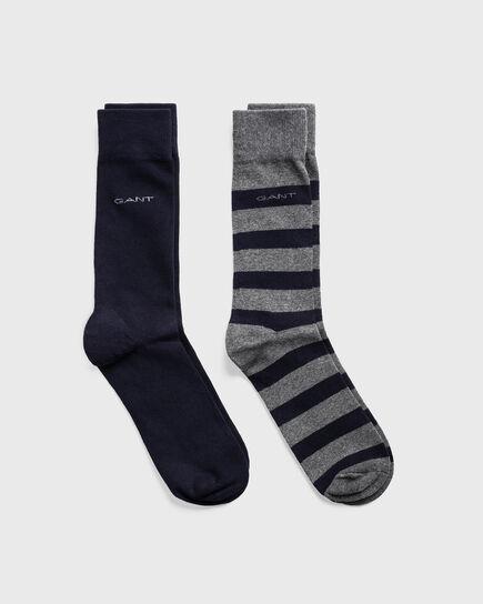 Confezione da 2 paia di calzini a righe larghe e tinta unita