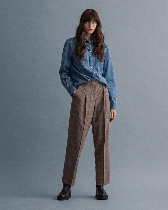 Pantaloni con pinces e vita alta a quadri