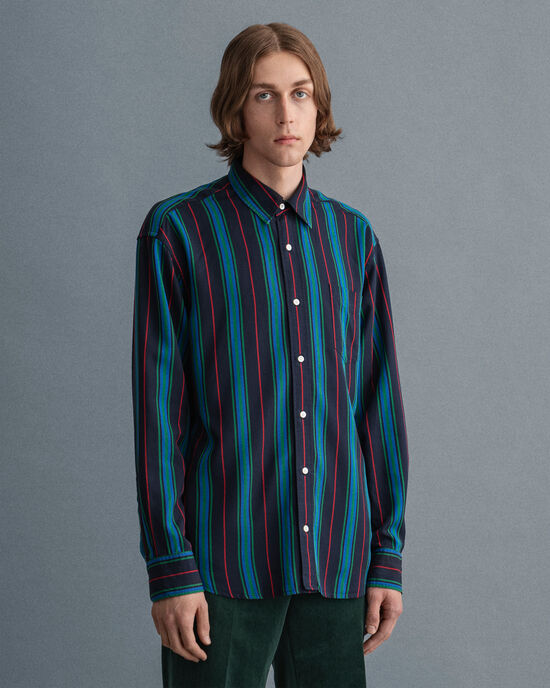 Camicia in lyocell a righe relaxed fit