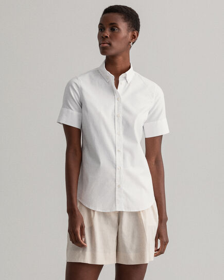 Camicia Oxford elasticizzata a maniche corte