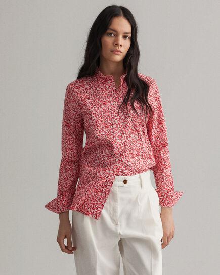 Camicia in broadcloth elasticizzato con stampa Micro Bouquet