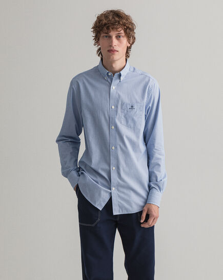 Camicia in broadcloth a righine regular fit