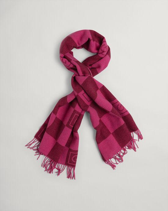 Sciarpa in lana con motivo a scacchi tono su tono