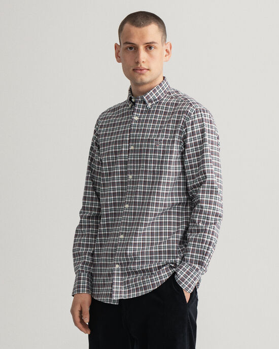Camicia Oxford con motivo micro scozzese regular fit