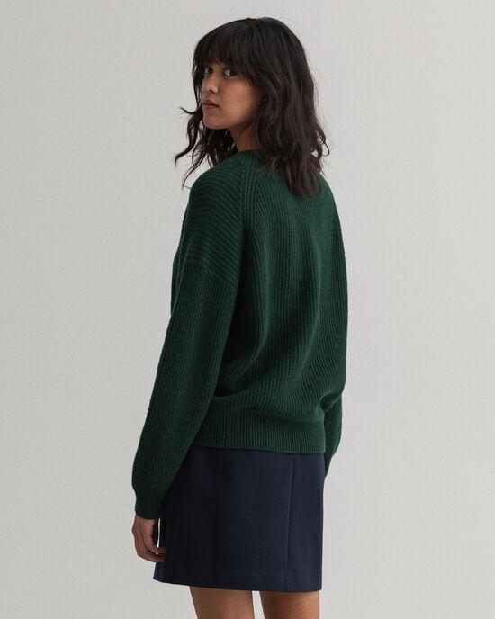 Maglia con scollo a V in lana a coste