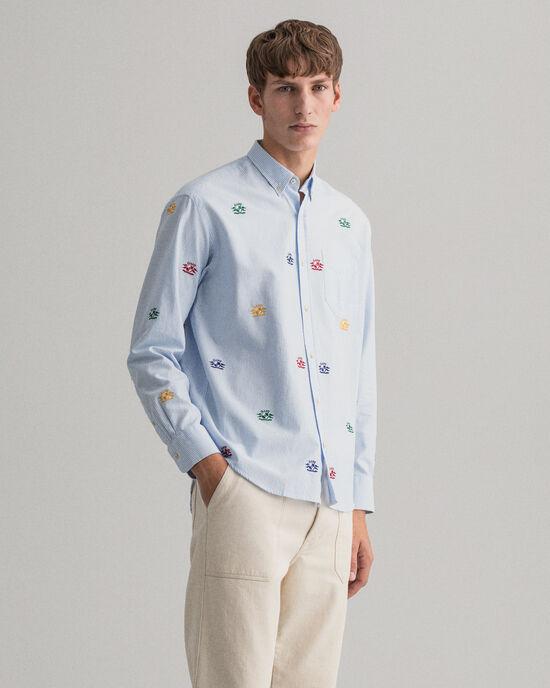 Camicia Oxford con ricamo Crest relaxed fit