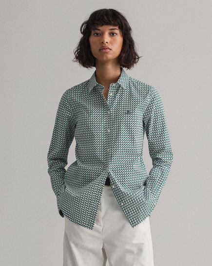Camicia in broadcloth elasticizzato con stampa geometrica