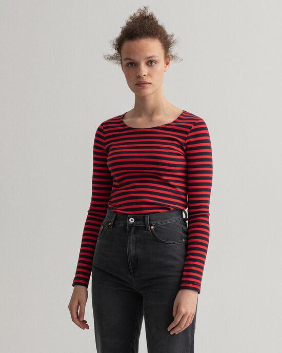 T-shirt a coste e righe con maniche lunghe