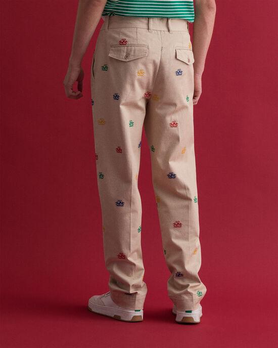 Pantaloni chino con ricamo Crest
