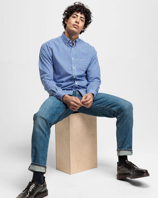 Camicia in broadcloth a quadri percalle regular fit