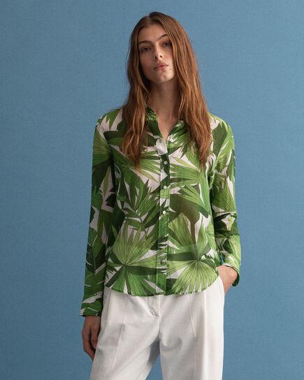 Camicia in misto seta e cotone con stampa Palm Breeze